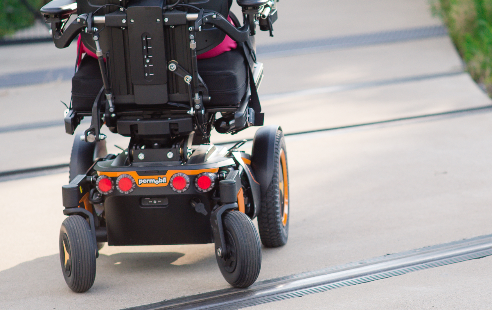 A Permobil Power Wheelchair