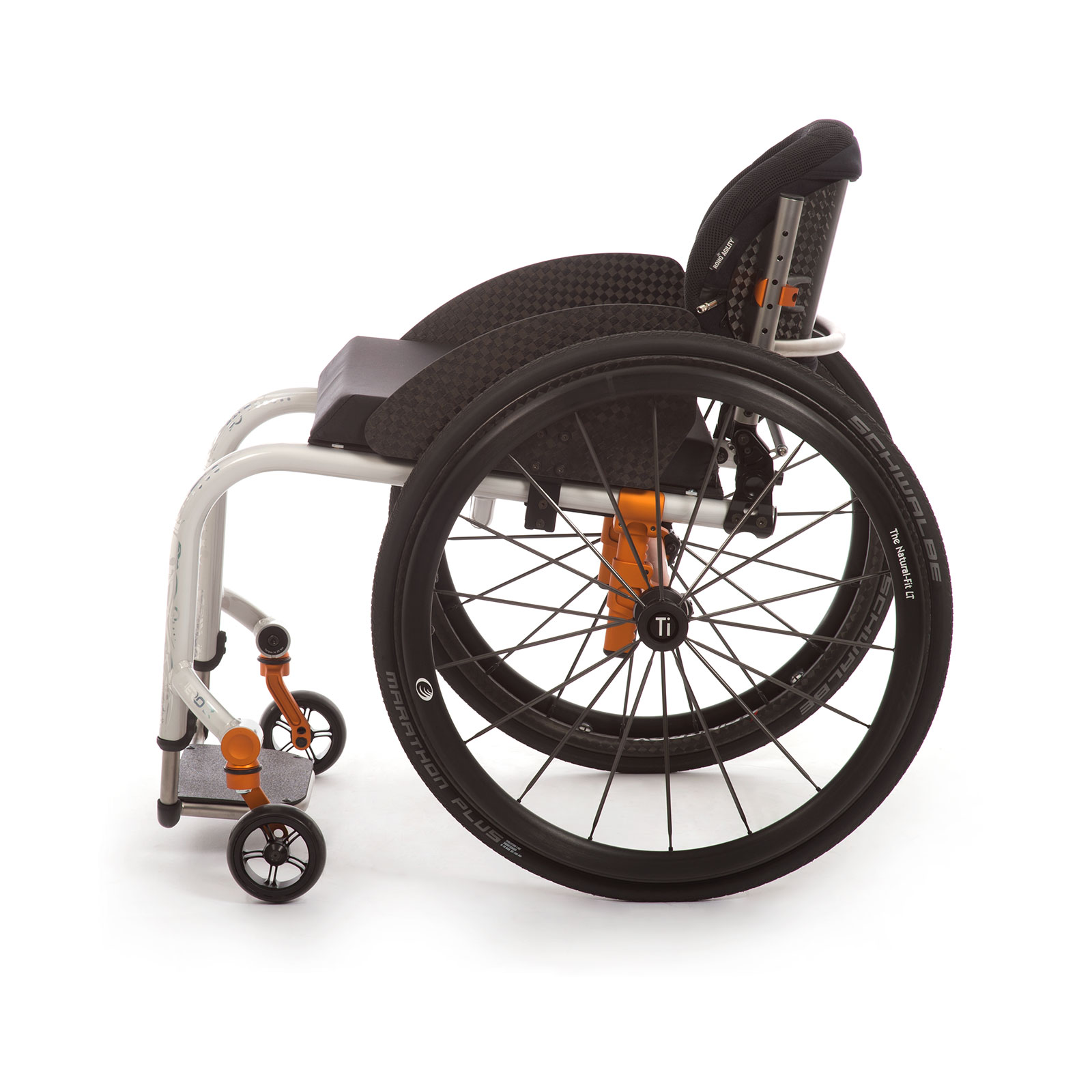 The Left Side of Black-Orange Wheelchair.