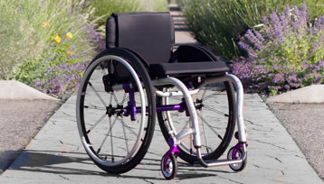 A full view of a wheelchair