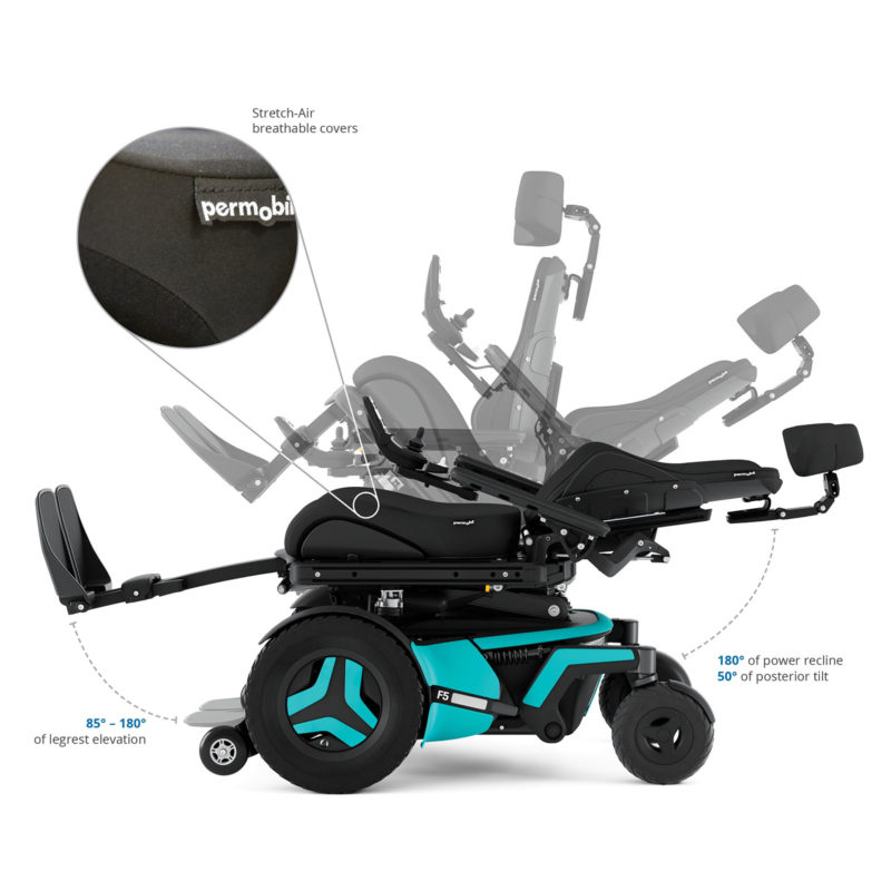 Front-wheel drive power wheelchair with recline capability.