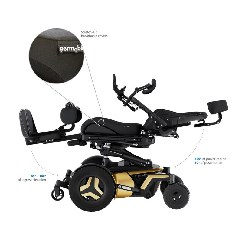 Front-wheel drive power wheelchair that have comfortable seat.