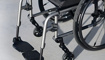 The midline footrest of the Wheelchair.