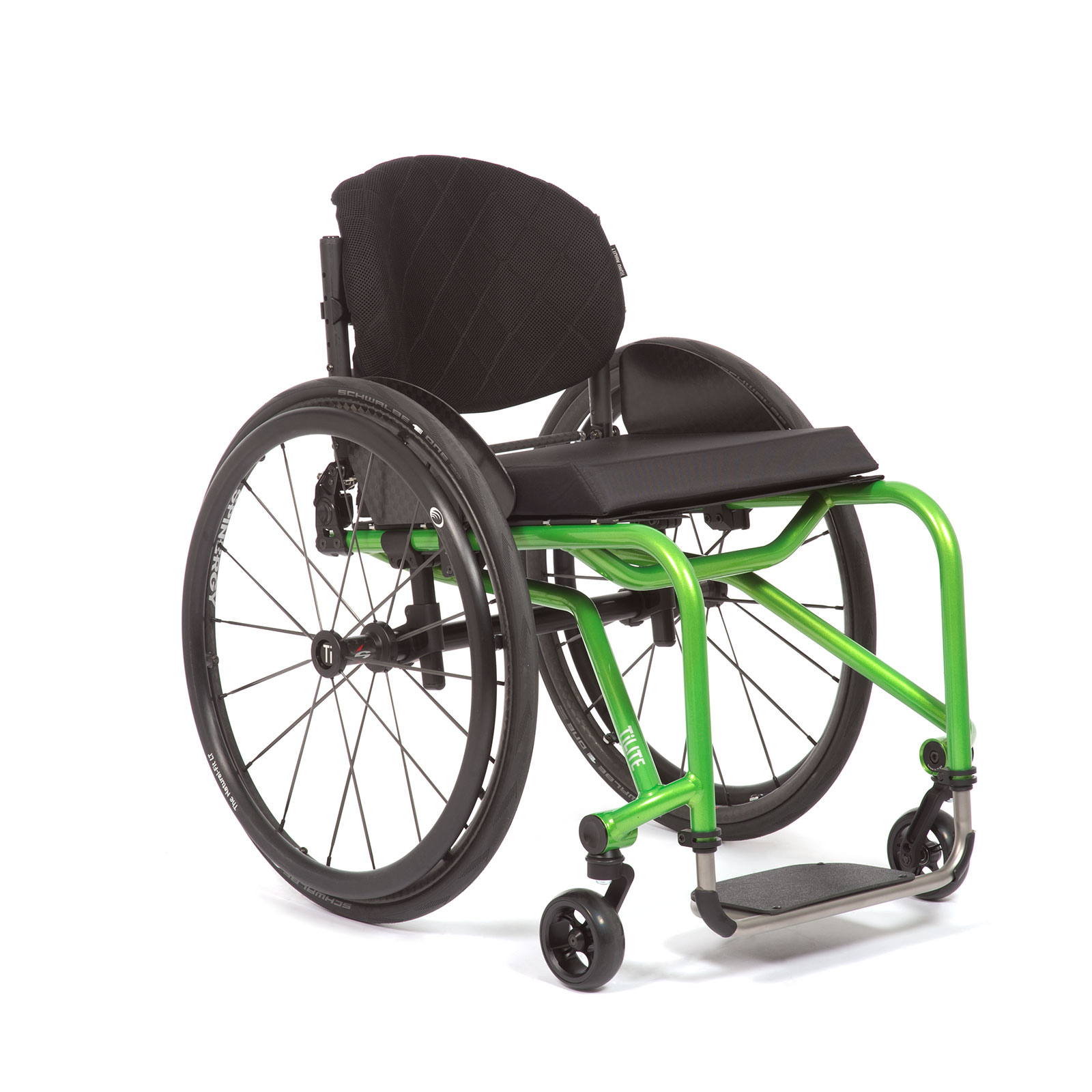 The Right Mid view of acid green Wheelchair.