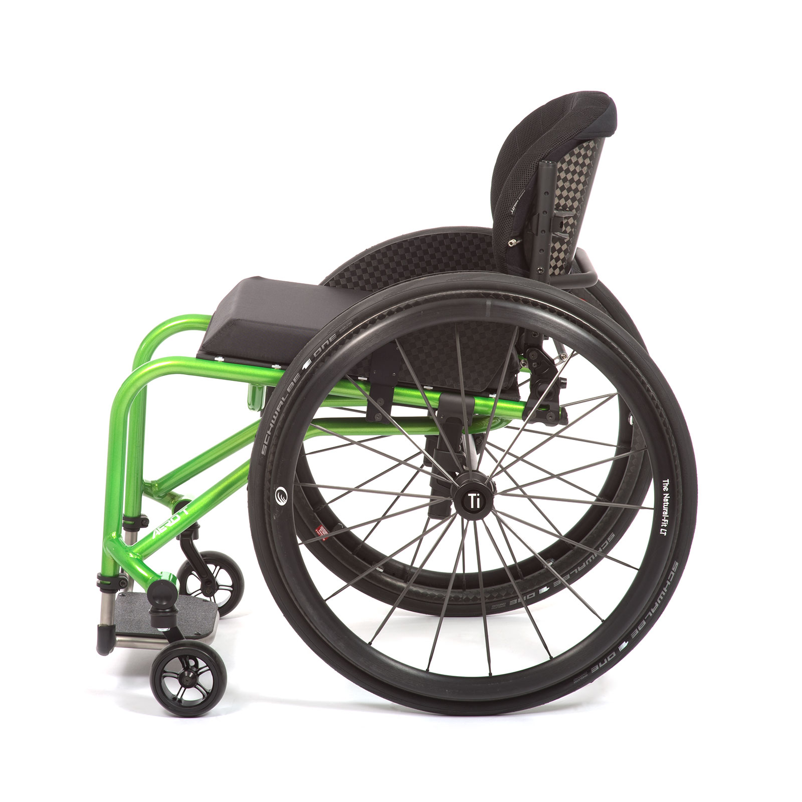 The Left side of acid green Wheelchair