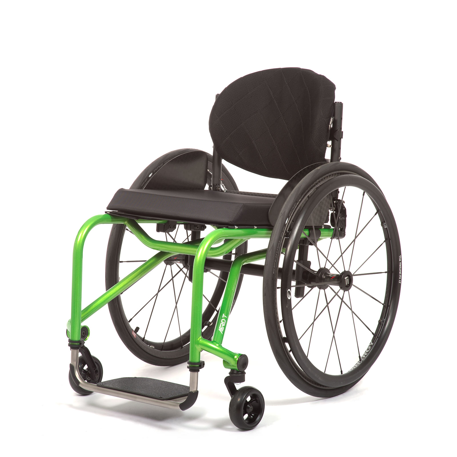 The Front Left of acid green Wheelchair.