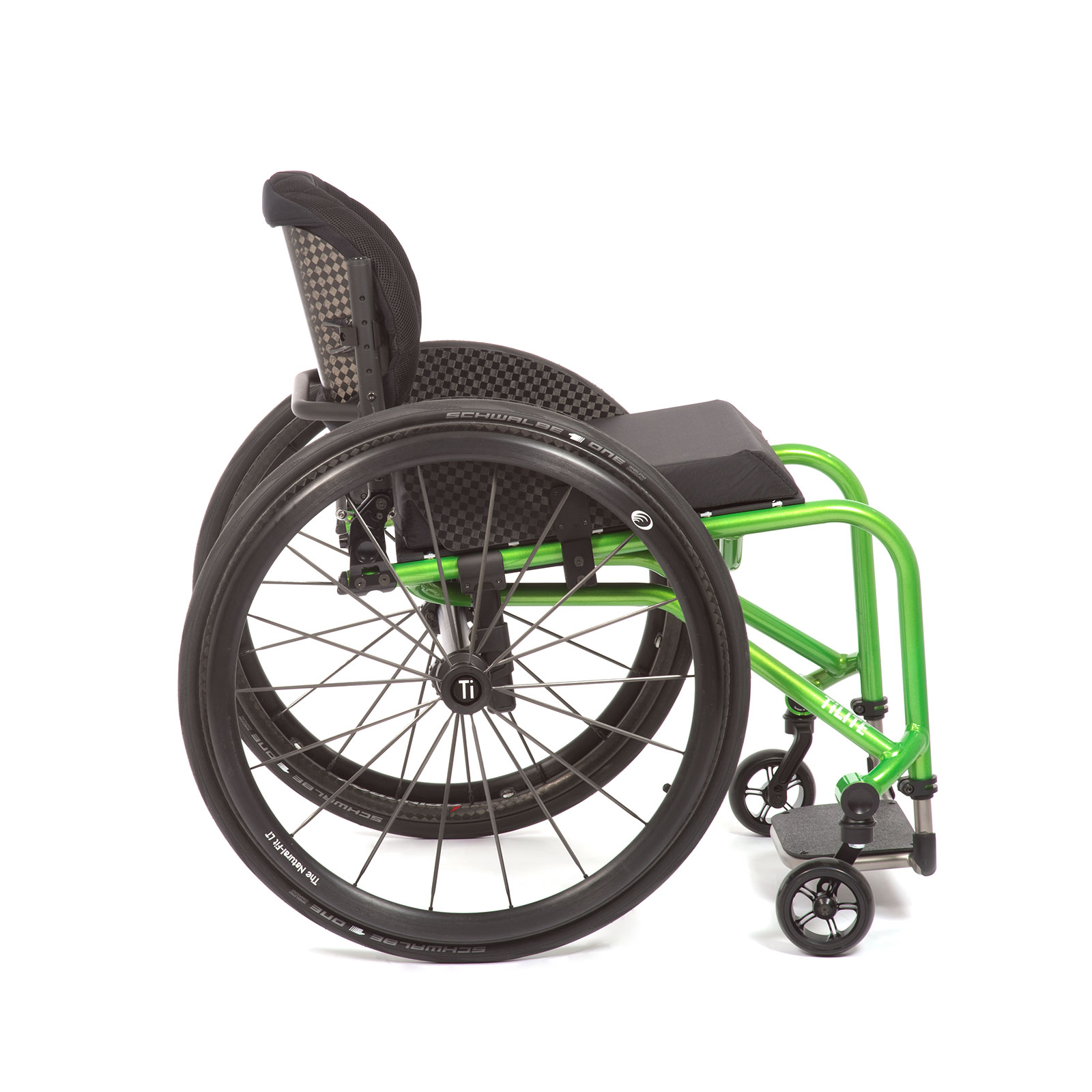 The Right Side of acid green Wheelchair.