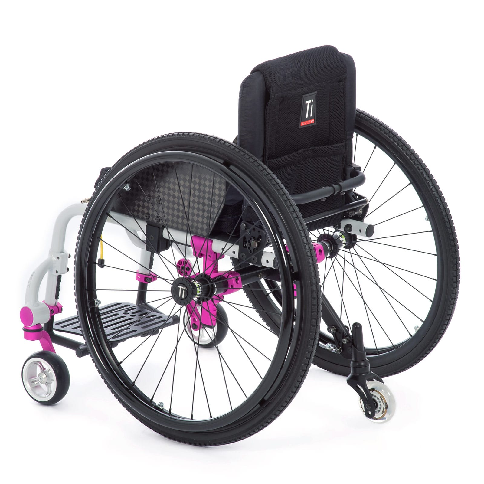 A White-Pink Mid-Left Back view of the Wheelchair