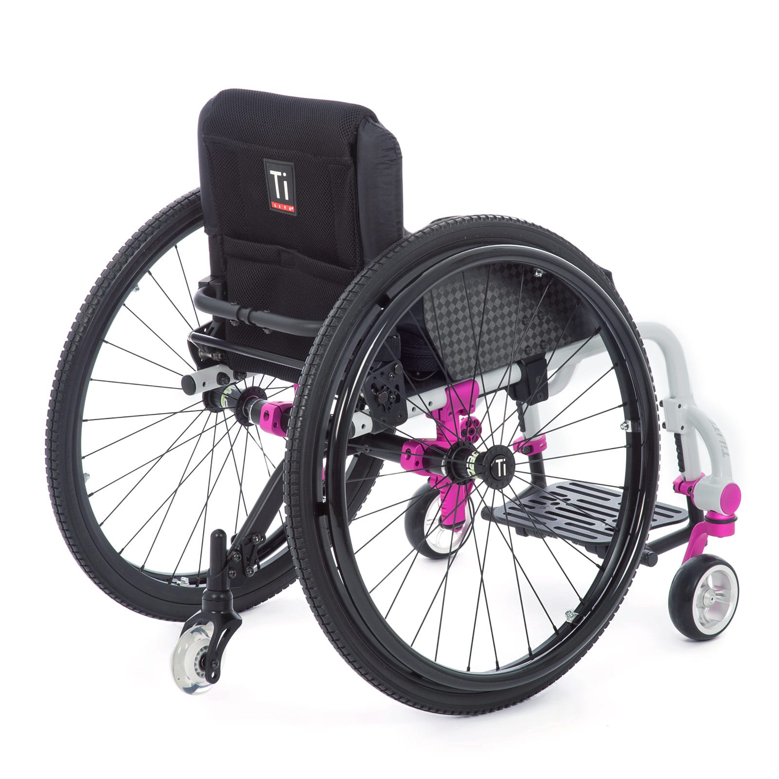 The white-pink Mid-Back right of the Wheelchair
