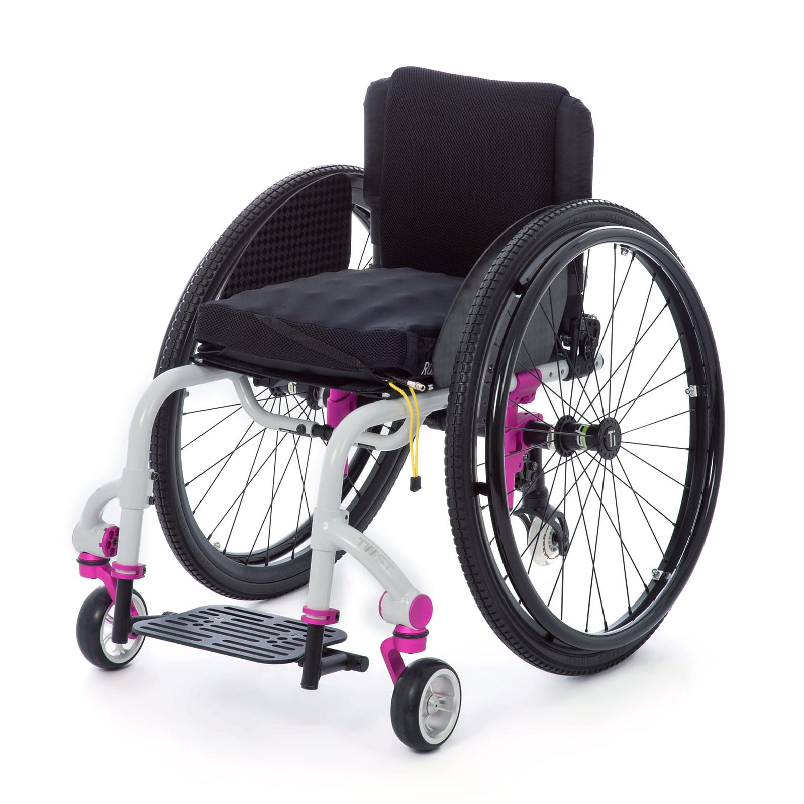 White-Pink left Mid-Front of the Wheelchair