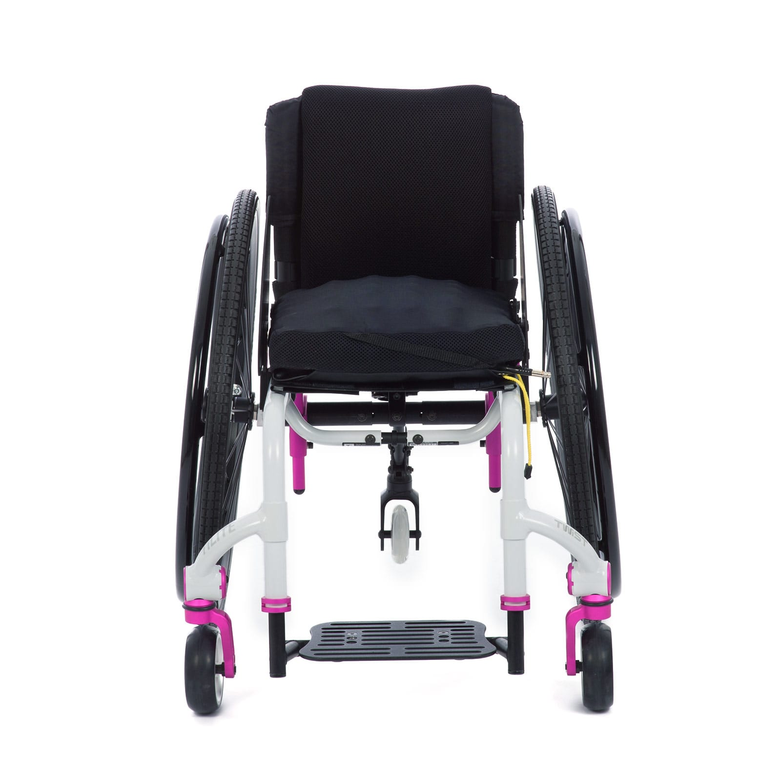 White-Pink Front view of the Wheelchair