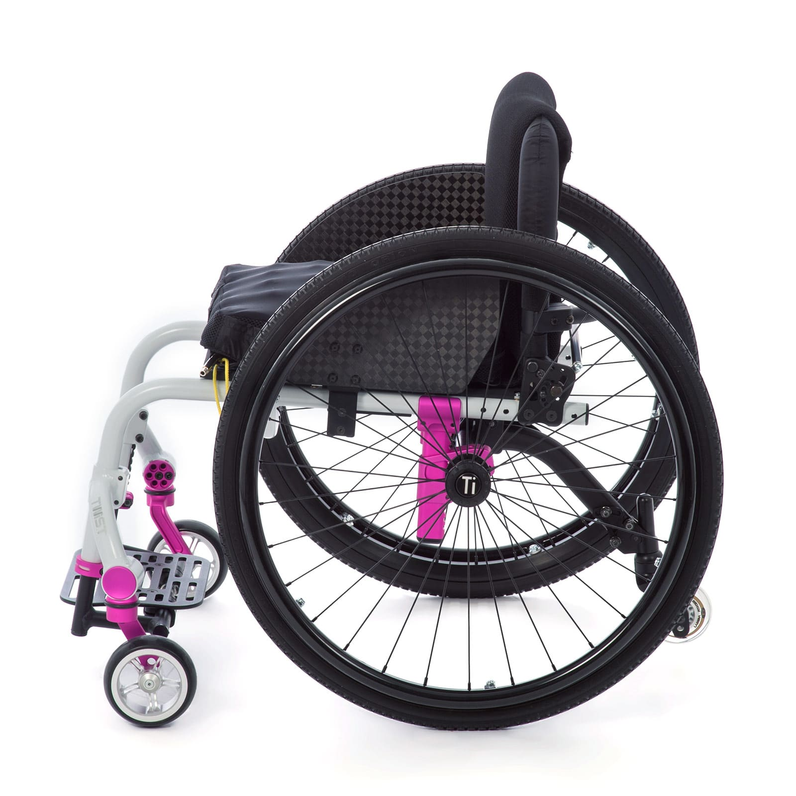 Side View of white-pink Wheelchair