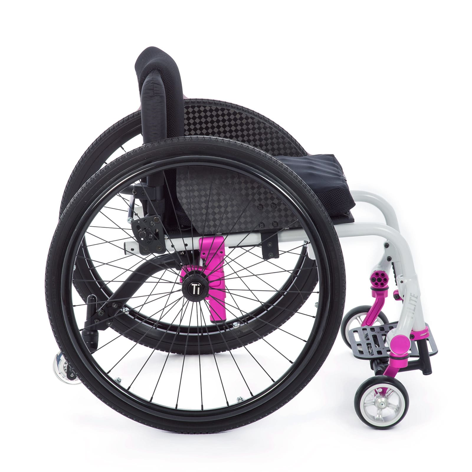 Left Side of white-pink Wheelchair