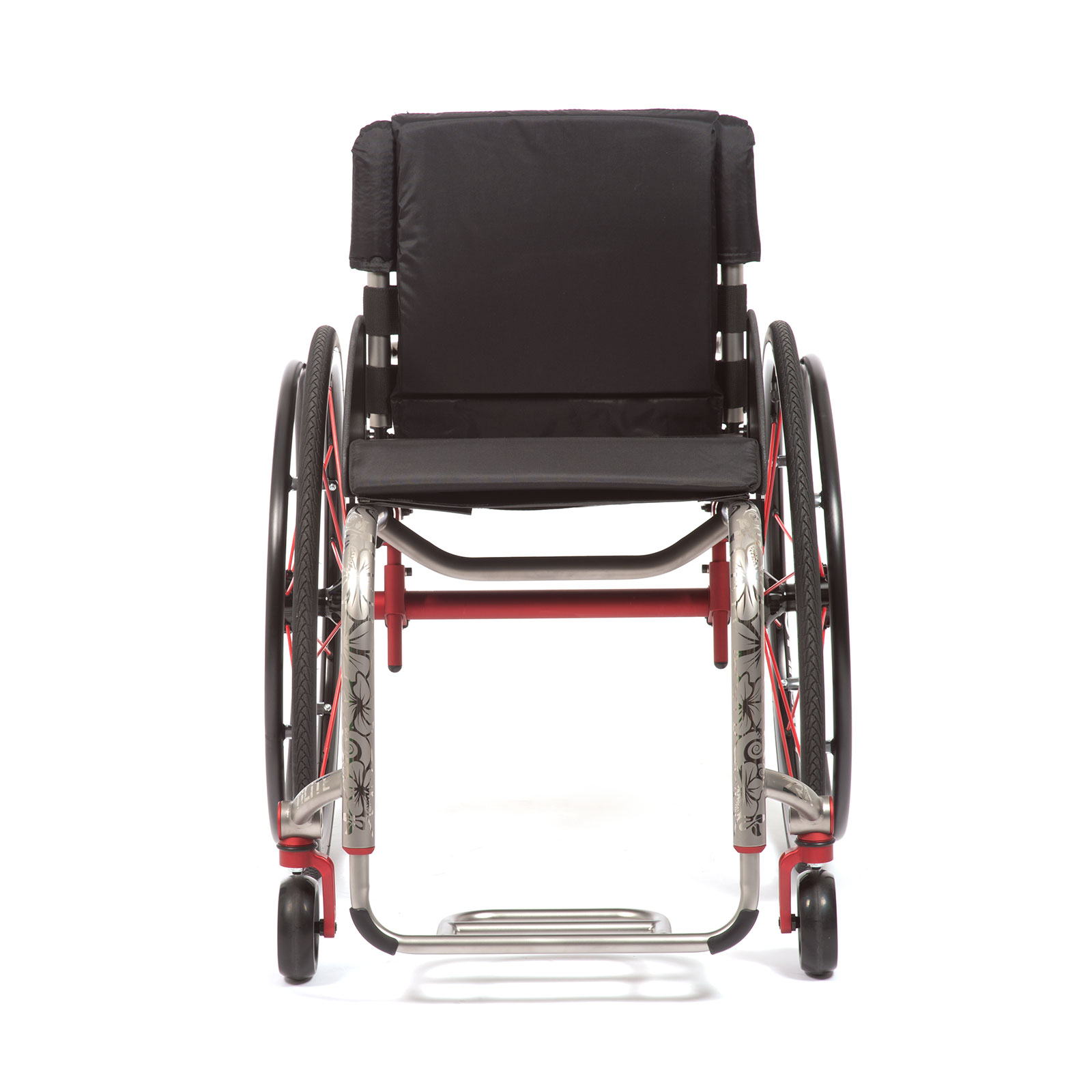 The Front view of Red Wheelchair