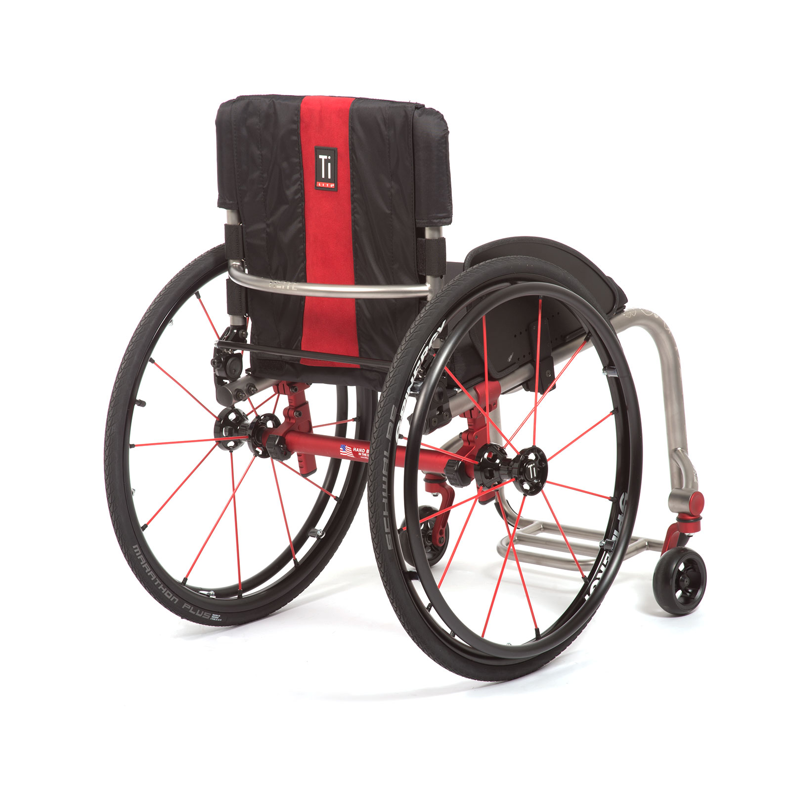 The Right Mid-Back of Red Wheelchair