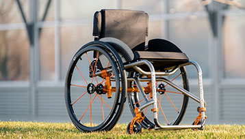 A Full view of Mid-Right of the Wheelchair