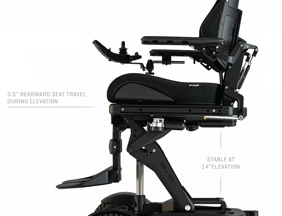 A Black Left view of the Power Wheelchair