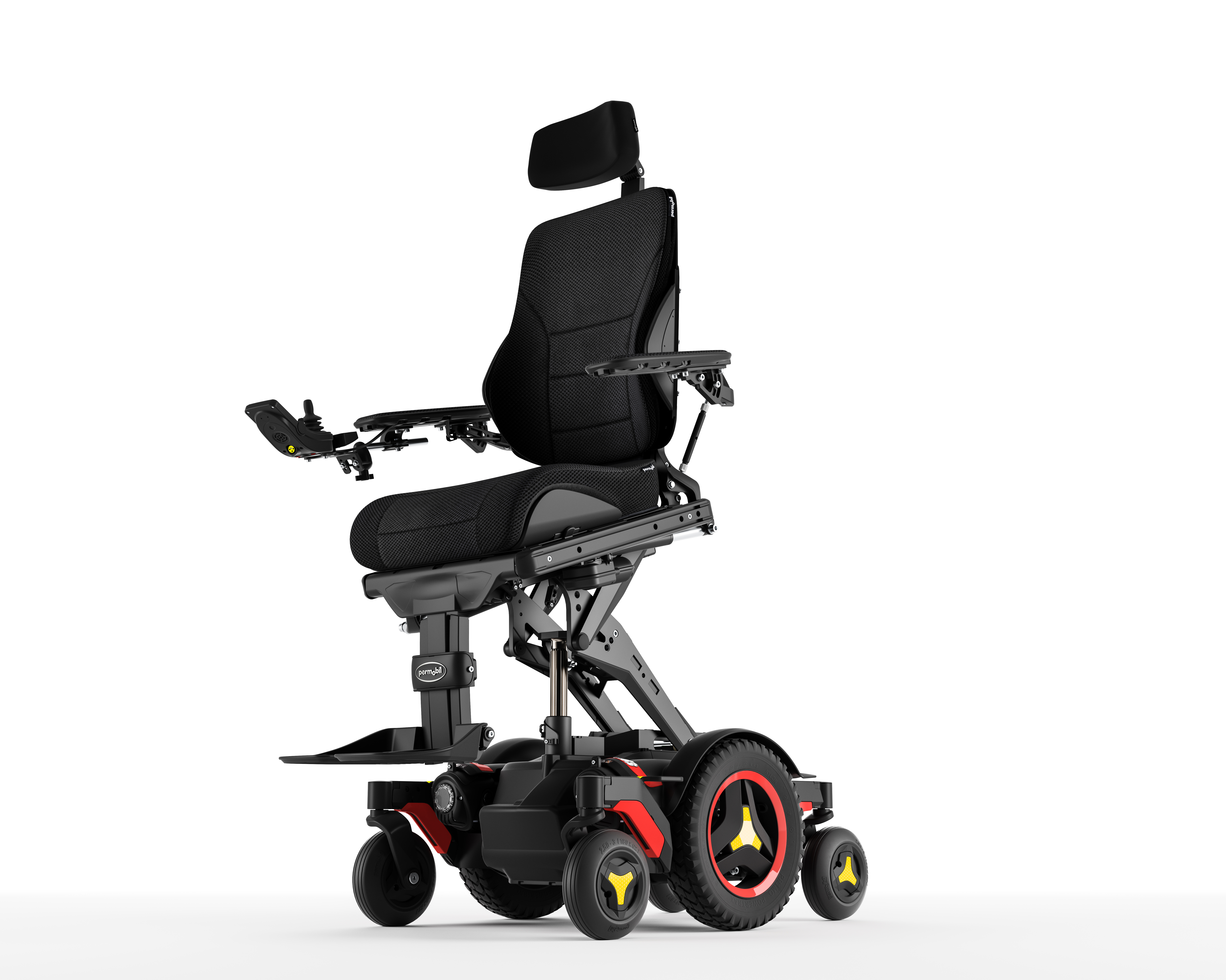 Pink electric wheelchair -  Permobil Standardviews Iso Left Extended Anterior Us