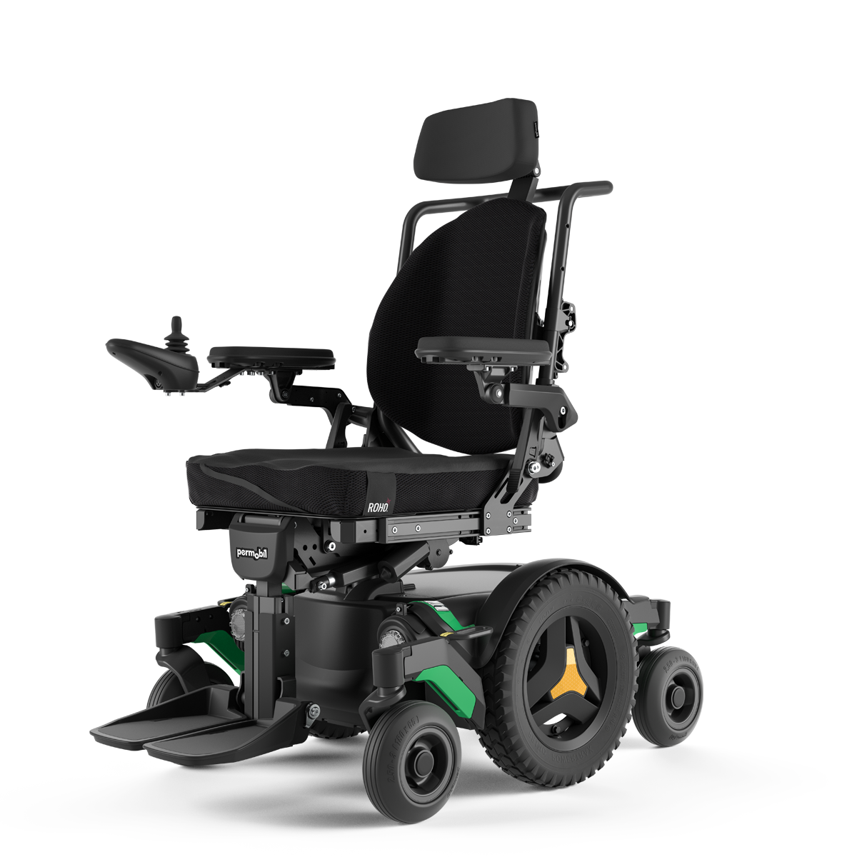 A Mid-Left M1 Power Wheelchair.
