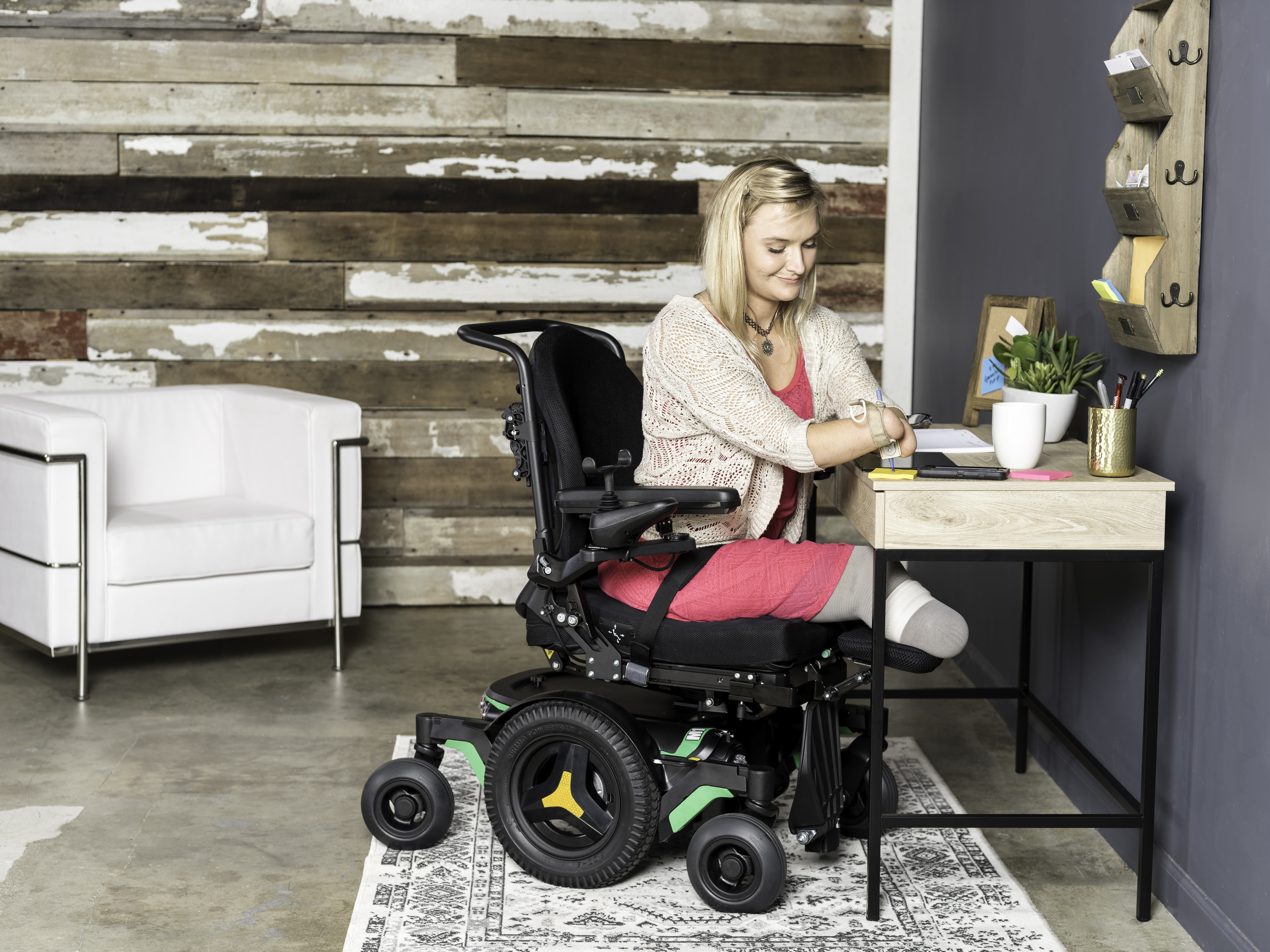 A disabled girl on her M1 power wheelchair