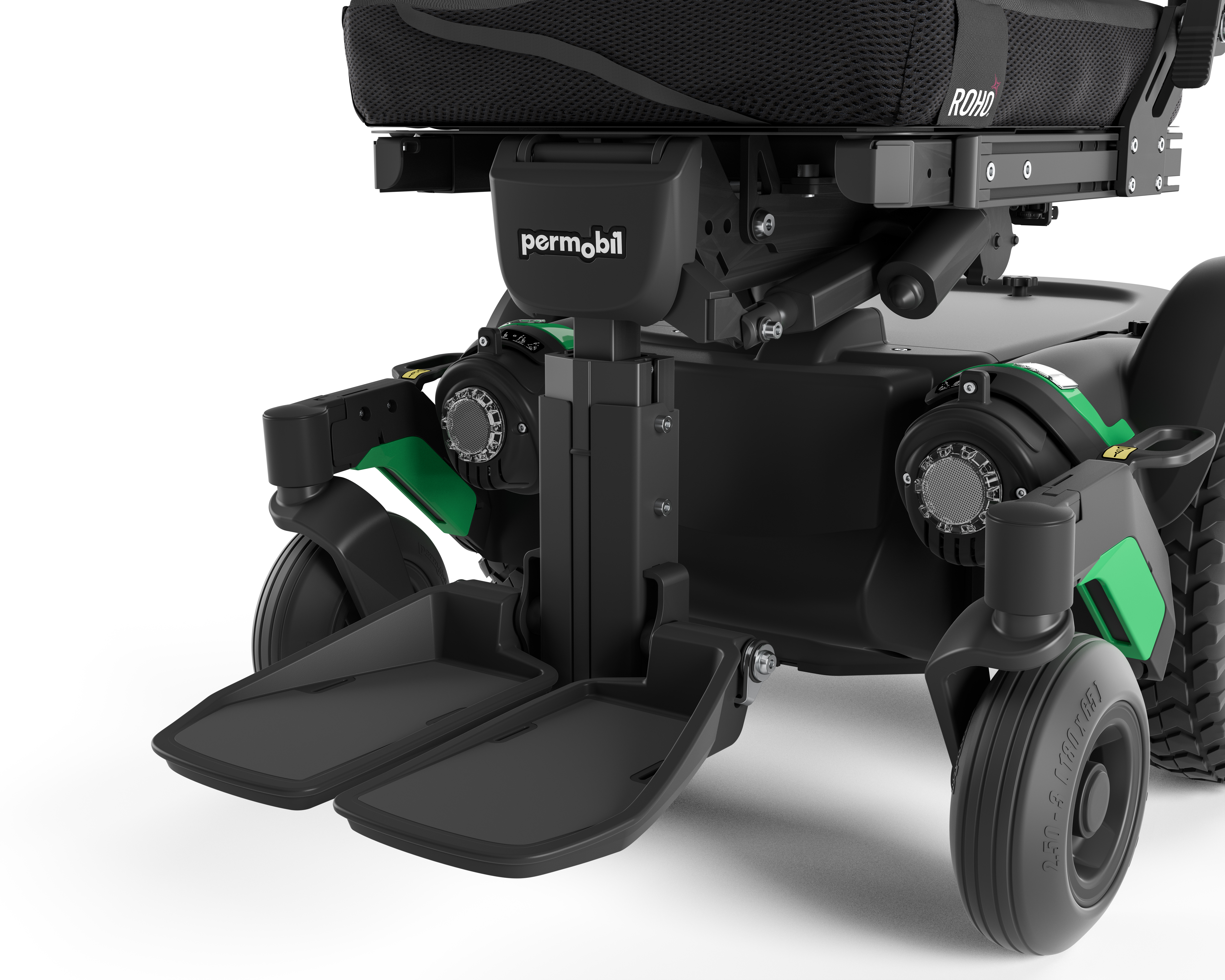 Permobil M1 Mid-Front lower part of the power wheelchair.