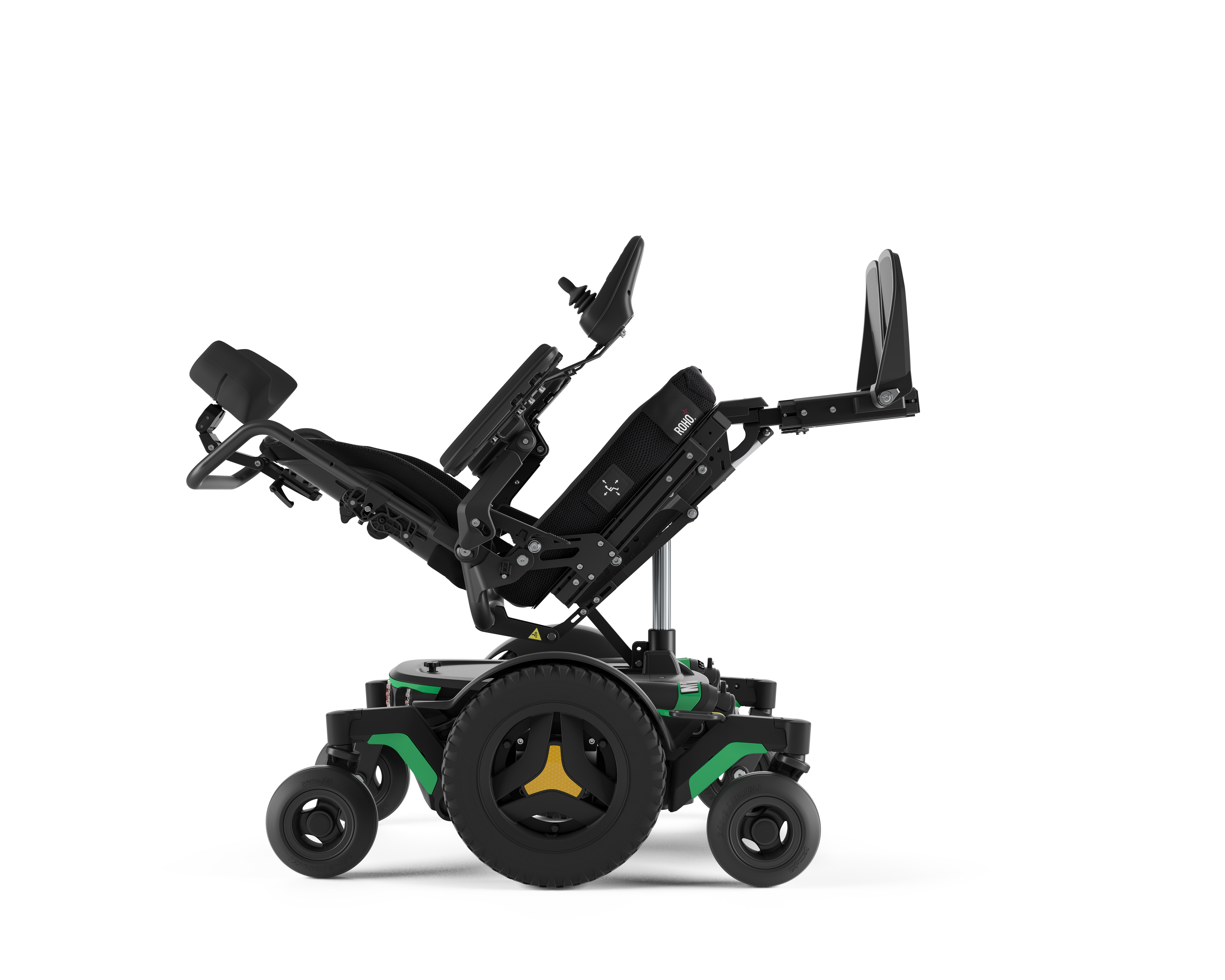 The M1 Tilt Legs Elevated of the Power Wheelchair.