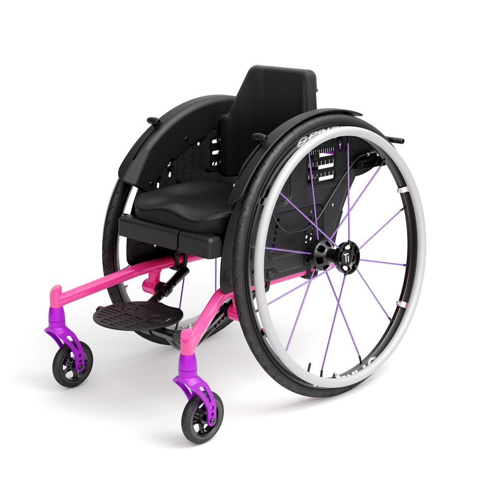 Pink Right Mid-Front TiLite Pilot Wheelchair
