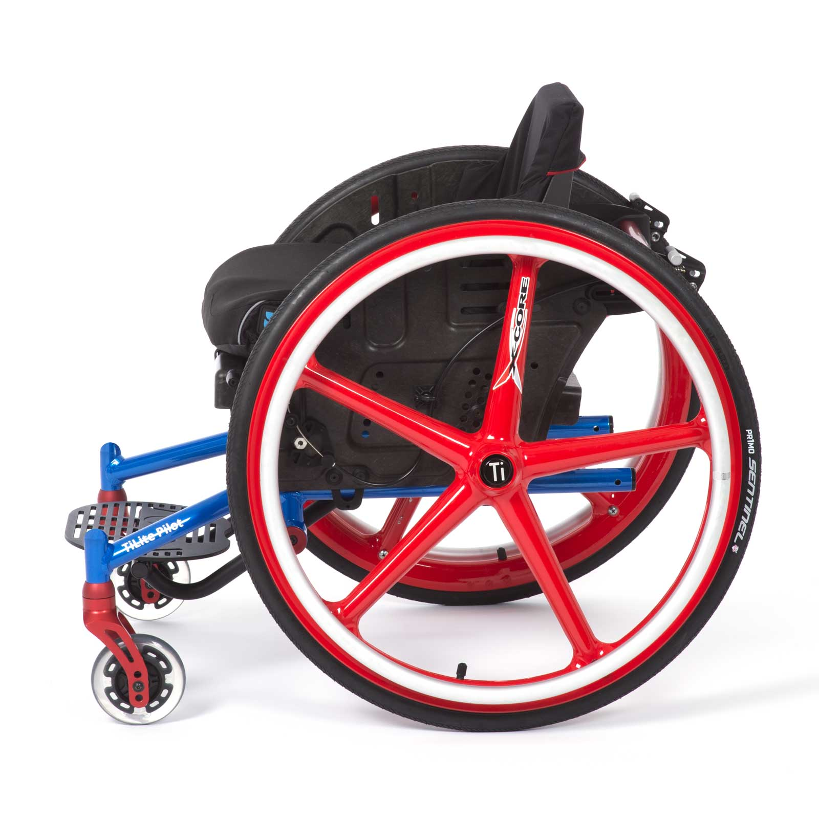 Blue-Red Right Side of TiLite Pilot Wheelchair