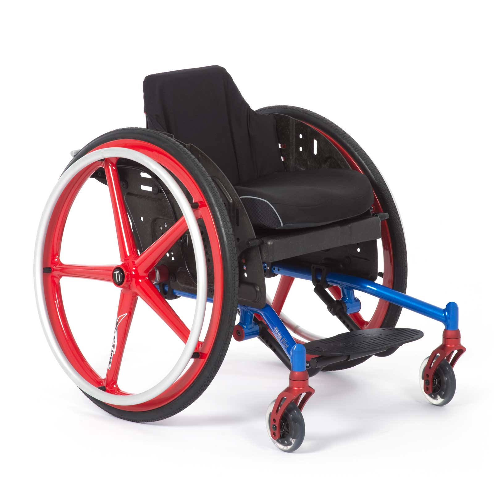 Blue-Red Left Mid-Front of TiLite Pilot Wheelchair
