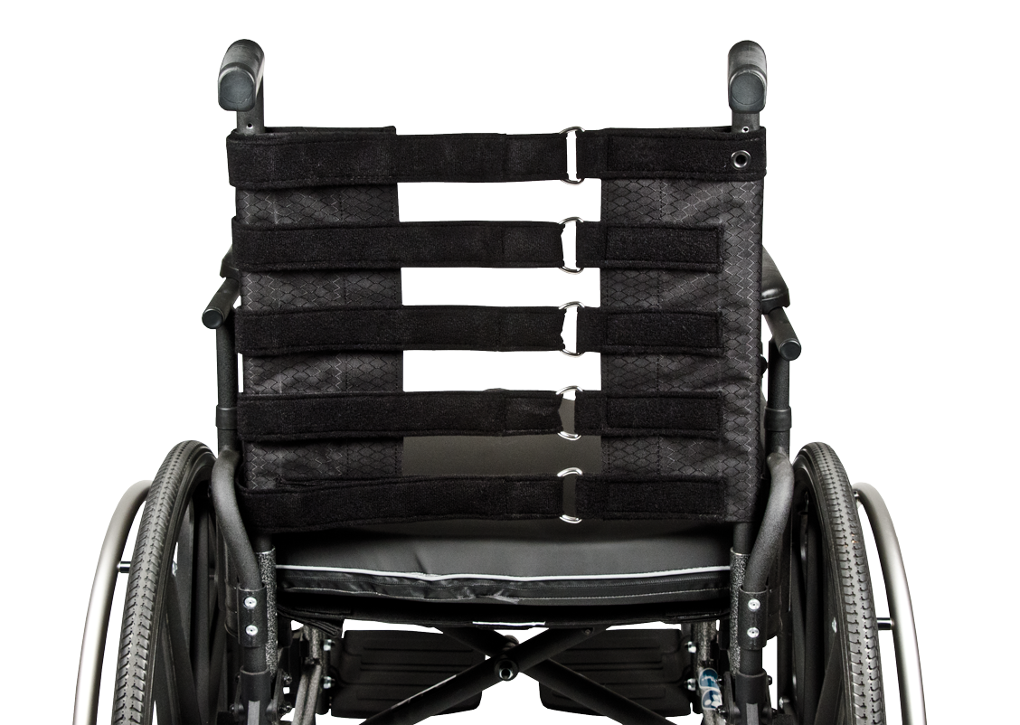 The black straps of Elements Back Wheelchair