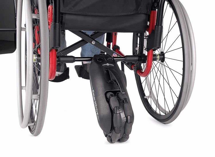 A Back view of Smart Drive under the Wheelchair