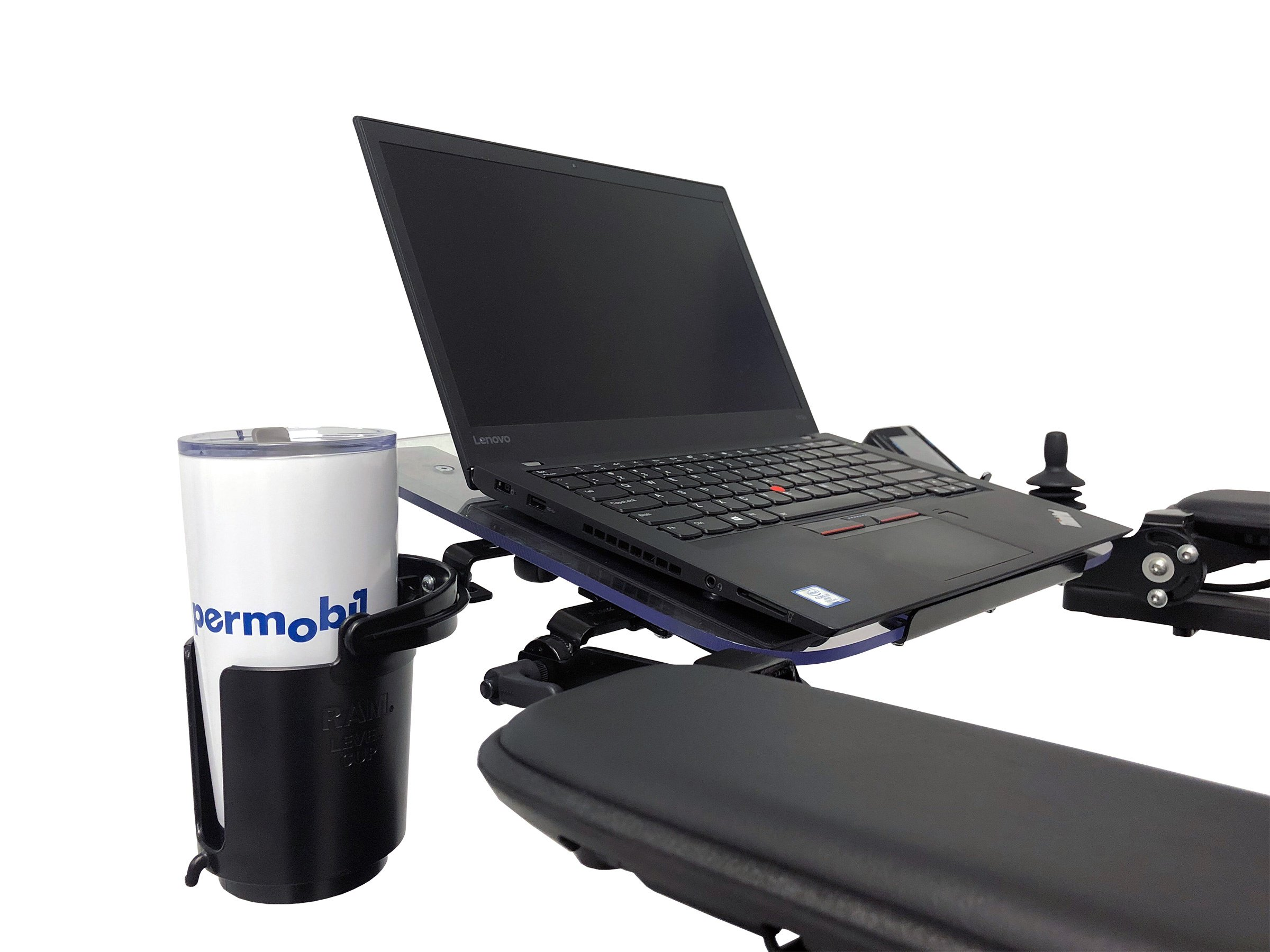 Permobil Tray Laptop Clean and Tumbler Holder